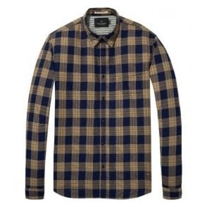 Scotch & Soda Dark Blue/Beige Patchwork Shirt 139569