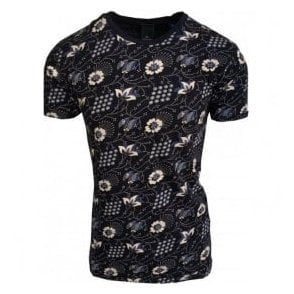 Scotch & Soda Dark Blue Floral Print T-Shirt 142661