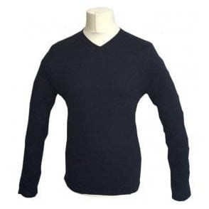 Scotch & Soda Navy Knitted V-Neck Pullover 139783