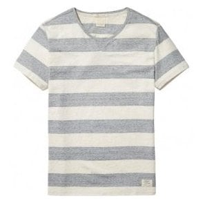 Scotch & Soda Regular Fit 'Home Alone' Beige/Grey Striped T-Shirt 137745