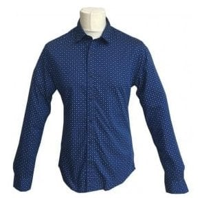 Scotch & Soda Slim Fit Dark Blue Polka Dot Shirt 139555