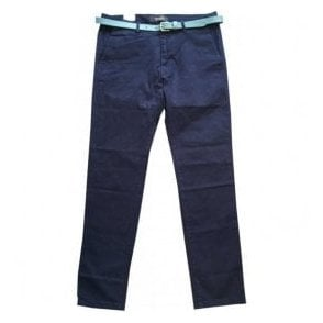 Scotch & Soda 'Stuart' Navy Regular Slim Fit Stretch Chinos With Turquoise Belt 142403