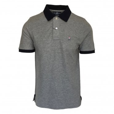 Psycho Bunny Grey Polo Shirt with Contrast Black Collar