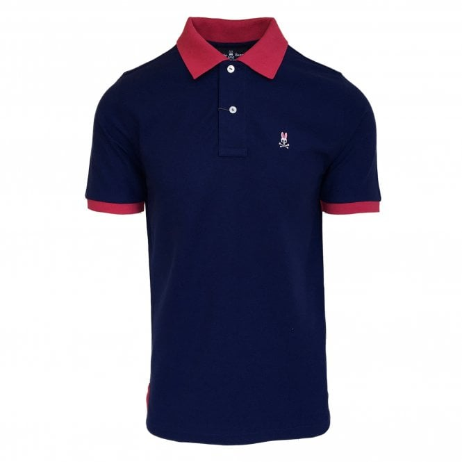Psycho Bunny Navy Polo Shirt with Contrast Pink Collar