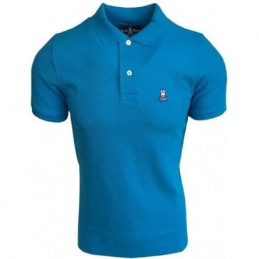 Psycho Bunny Peacock Blue Classic Short-Sleeve Polo Shirt B6K001B1PC PCK