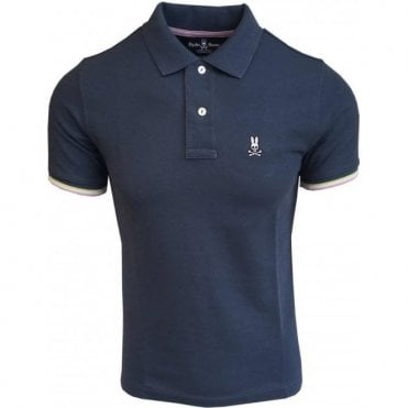 Psycho Bunny St Croix Tidal Blue Polo Shirt With Contrasting Trims B6K657B1PC TID