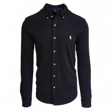 Ralph Lauren Polo Black Knitted Oxford Shirt