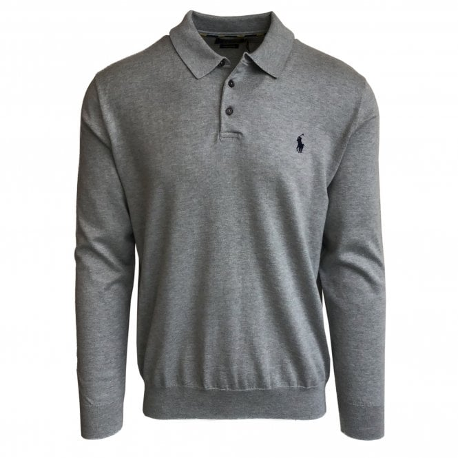 Ralph Lauren Polo Grey Knitted Polo Shirt