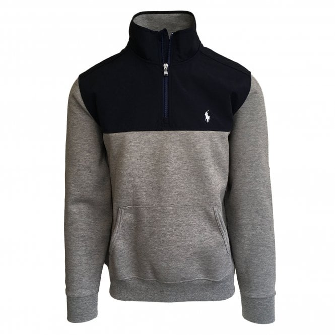 Ralph Lauren Polo Grey & Navy Hybrid 1/4 Zip Sweatshirt