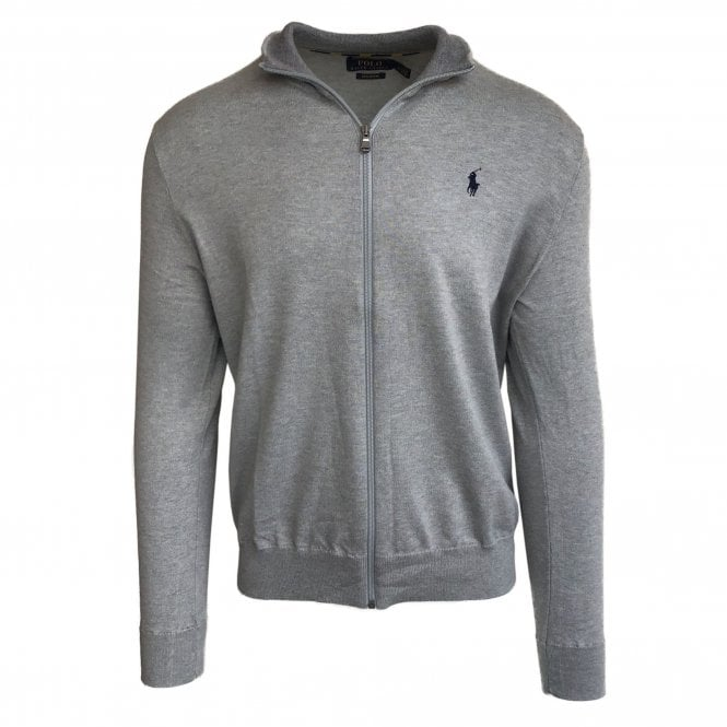 Ralph Lauren Polo Grey Zip-Up Pima Cotton Jumper