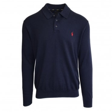 Ralph Lauren Polo Navy Knitted Polo Shirt