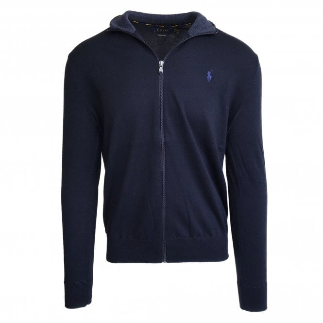 Ralph Lauren Polo Navy Zip-Up Pima Cotton Jumper