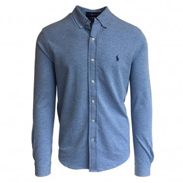 Ralph Lauren Polo Sky Blue Knitted Oxford Shirt
