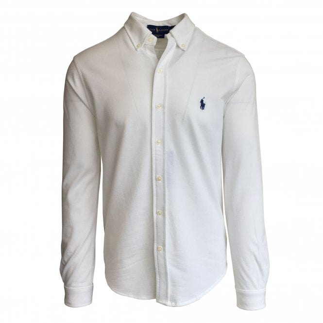 Ralph Lauren Polo White Knitted Oxford Shirt