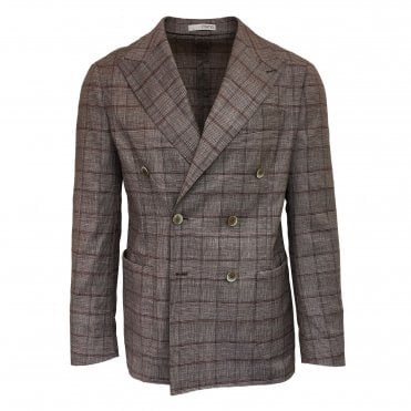 RF Sartori Brown Checked Double Breasted Jacket