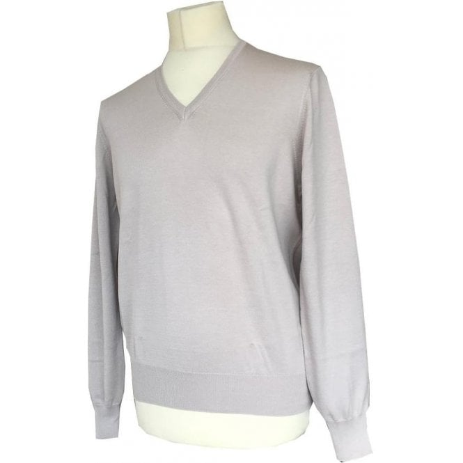 Robert Fuller Beige Knitted V-Neck Long-Sleeve Jumper 5514918102