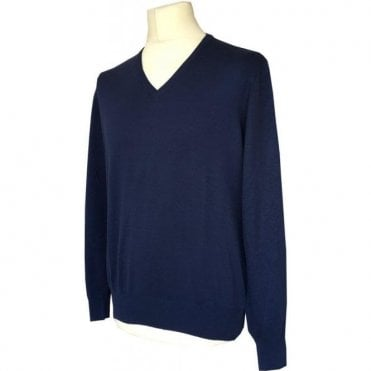 Robert Fuller French Blue V-Neck Knitted Jumper 55149/18102 598