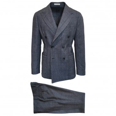RF Sartori Blue Checked Double Breasted Suit