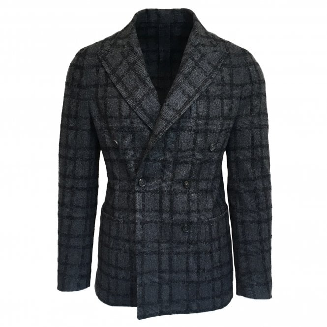 RF Sartori Charcoal Checked Double Breasted Jacket
