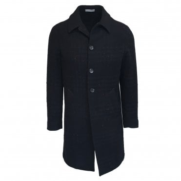 RF Sartori Navy Checked Overcoat