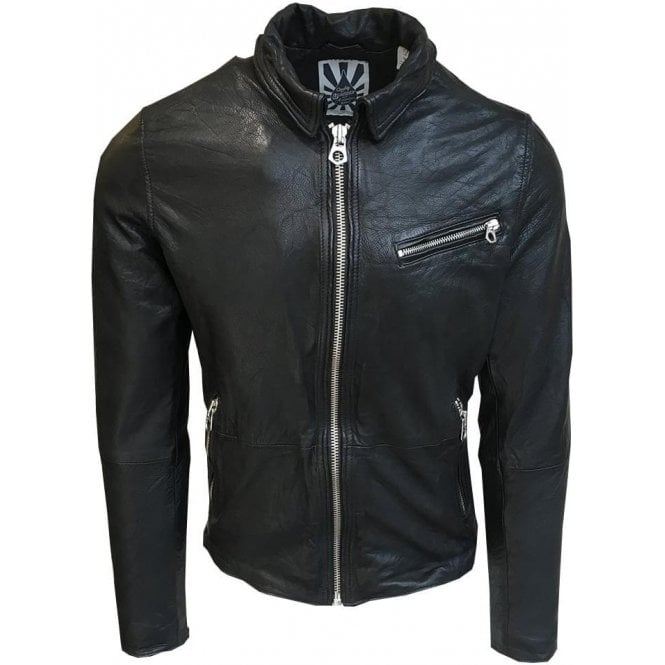 Scotch & Soda Black Genuine Cow Leather Biker Jacket 141122