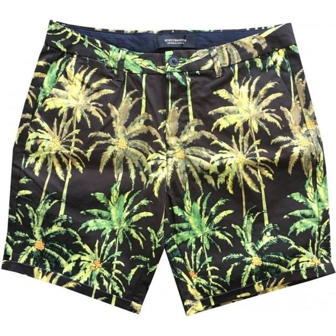 Scotch & Soda Black & Green Tropical Print Chino Shorts 142422