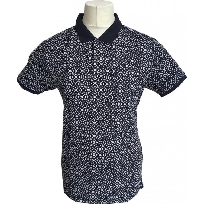 Scotch & Soda Dark Blue Patterned Pique Polo Shirt 139763