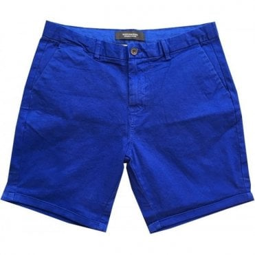 Scotch & Soda Garment Dyed Bright Blue Classic Chino Shorts 142422
