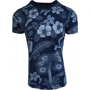 Scotch & Soda Garment Dyed Indigo Blue Floral Crewneck T-Shirt 142669