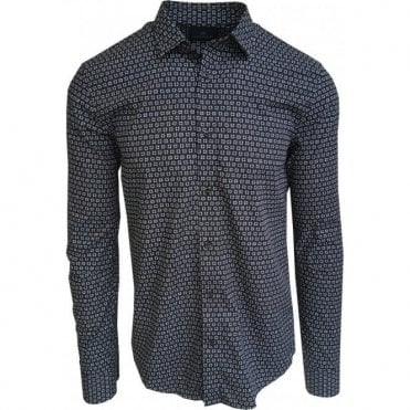 Scotch & Soda Navy Long-Sleeve Square Print Shirt 142481