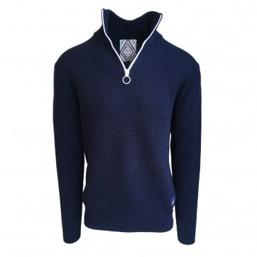 Scotch & Soda Navy Retro Zip-Up Cardigan