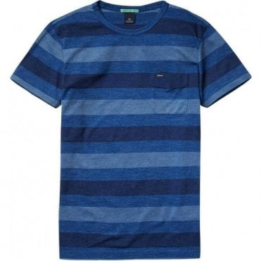 Scotch & Soda PiquŽ Striped Blue Crewneck T-Shirt 139040