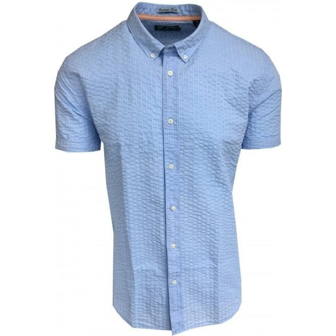 Scotch & Soda Regular Fit Garment Dyed Blue Short Sleeve Shirt 142555