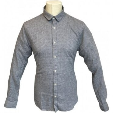 Scotch & Soda Regular Fit Grey Herringbone Casual Shirt 139614