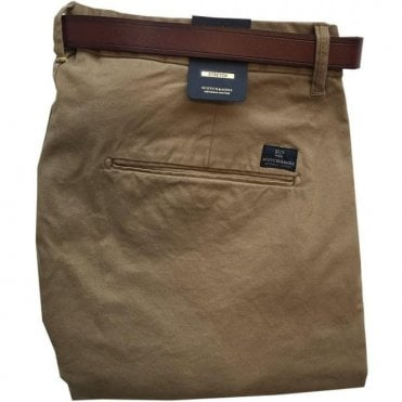 Scotch & Soda Regular Slim Fit Beige Chinos With Brown Belt 139506