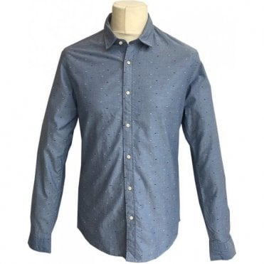 Scotch & Soda Slim Fit Classic Blue Patterned Oxford Shirt 139555