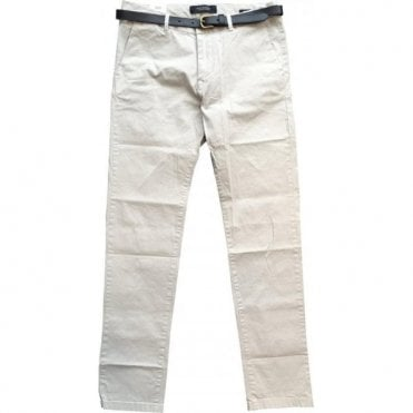 Scotch & Soda Stuart Regular Slim Fit Light Grey Chinos With Black Belt 142403