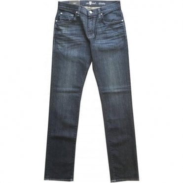 Seven For All Mankind Dark Blue Slimmy Straight Leg Airweft Denim Jeans In Japanese Fabric SMS834AAB