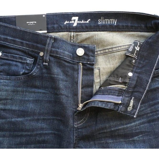Seven For All Mankind Dark Blue Slimmy Straight Leg Airweft Denim Jeans In  Japanese Fabric SMS834AAB 926a2dc61