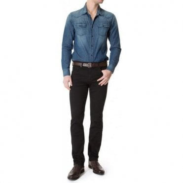 Seven For All Mankind Slimmy Luxe Performance Plus Rinse Black Denim Jeans SMSU470CB