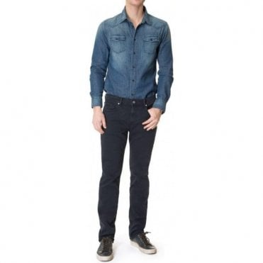 Seven For All Mankind Slimmy Luxe Performance Rinse Dark Blue Jeans SMSR460EK