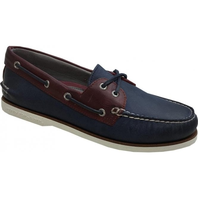 Sperry Gold Cup Navy/Red Authentic Original 2-Eye Roustabout Boat Shoes STS17472