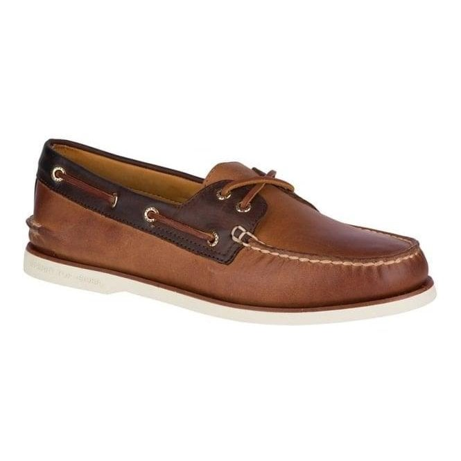 Sperry Gold Cup Tan/Brown Authentic Original 2-Eye Roustabout Boat Shoes STS17473
