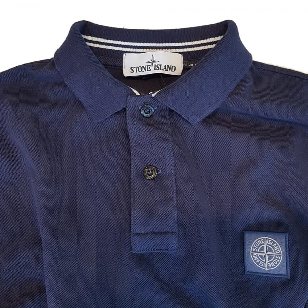 Stone Island Stone Island Cotton Pique Long Sleeve Polo Shirt in Blue ...