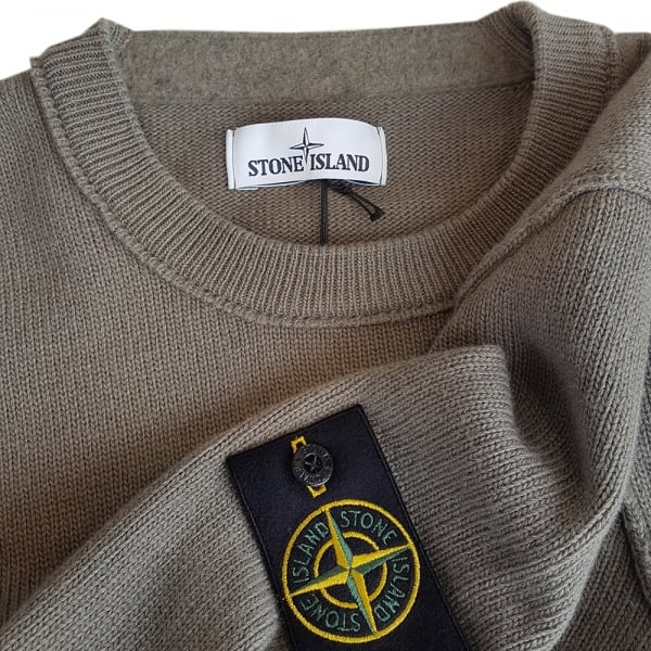 Stone Island Crewneck Knit Jumper With Exposed Seam Detail In Green