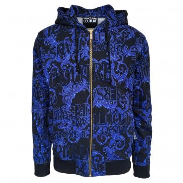 Versace Jeans Couture Black & Blue 'Logo Baroque' Hooded Sweatshirt