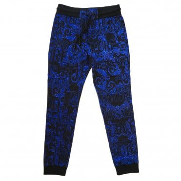 Versace Jeans Couture Black & Blue 'Logo Baroque' Jogging Bottoms