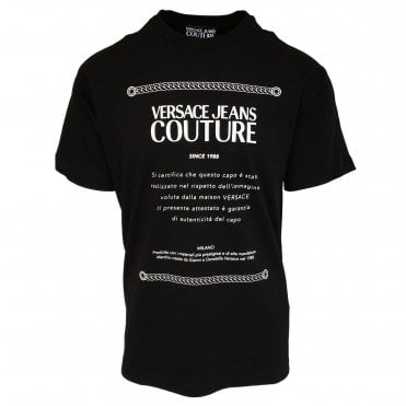 Versace Jeans Couture Black 'Etichetta Label' Crewneck T-Shirt