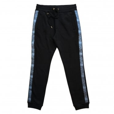 Versace Jeans Couture Black Jogging Bottoms with Blue Logo Piping