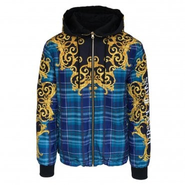Versace Jeans Couture Reversible Tartan 'Leo Baroque' Print Hooded Sweat